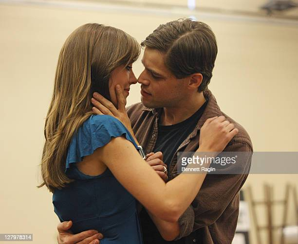 Actors Laura Osnes and Jeremy Jordan perform during the rehearsal for Broadway's Bonnie Clyde at The New 42nd Street Studios on October 4 2011 in New...