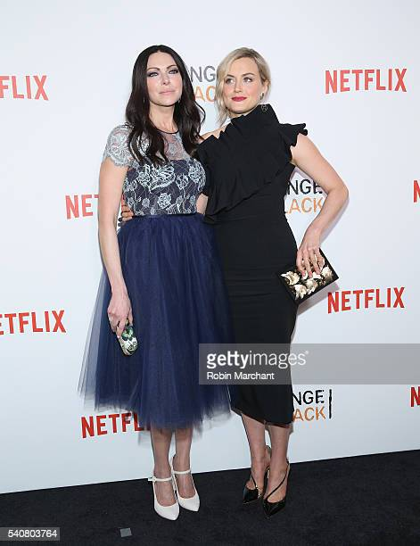 Actors Laura Prepon and Taylor Schilling attend 'Orange Is The New Black' New York City Premiere at SVA Theater on June 16 2016 in New York City