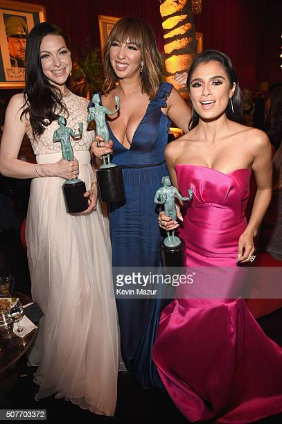 Actors Laura Prepon Jackie Cruz and Diane Guerrero attend People and EIF's Annual Screen Actors Guild Awards Gala at The Shrine Auditorium on January...