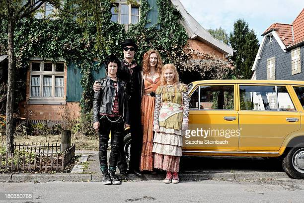 Actors Laura Roge Stipe Erceg Christiane Paul and Marta Martin pose during a photocall on set of Die Vampirschwestern 2 at Haus Tepes on September 12...