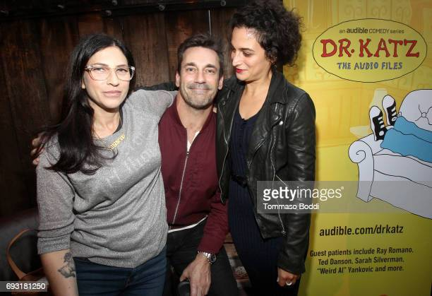 Actors Laura Silverman Jon Hamm and actor/comedian Jenny Slate attend Audible Launch Event for Dr Katz The Audio Files at The CineFamily on June 6...