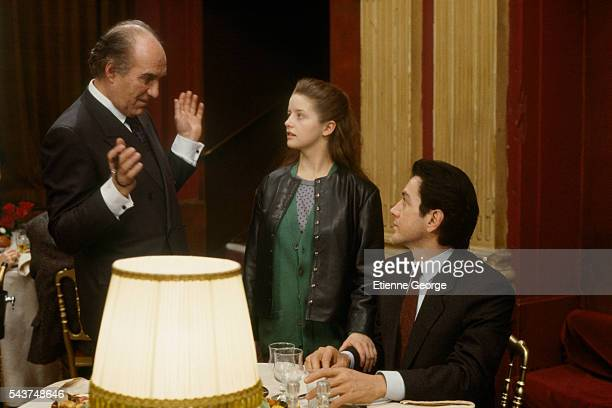 Actors Laure Marsac Michel Piccoli and Bernard Giraudeau on the set of 'L'Homme Voile' directed by Lebanese filmmaker Maroun Bagdadi