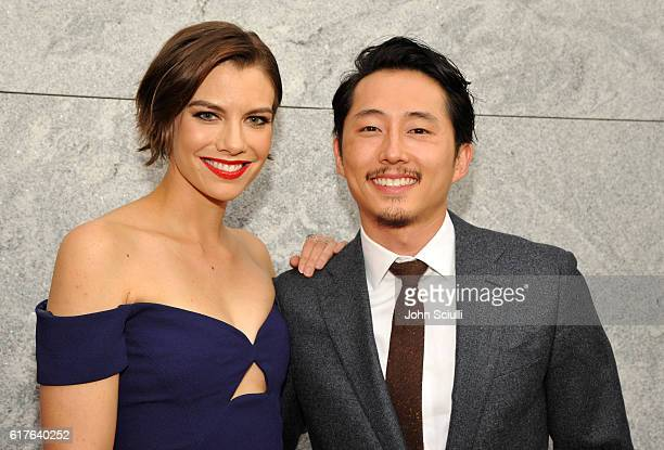 Actors Lauren Cohan and Steven Yeun attend AMC presents 'Talking Dead Live' for the premiere of 'The Walking Dead' at Hollywood Forever on October 23...