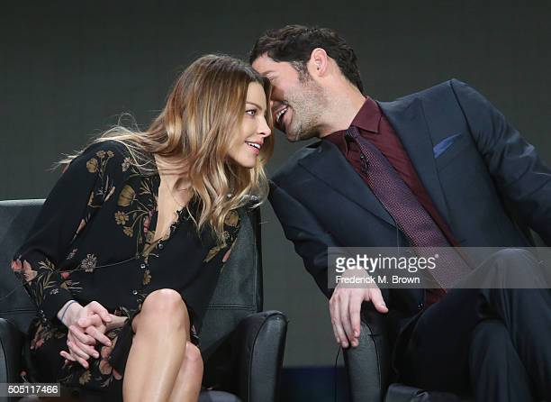 Actors Lauren German and Tom Ellis speak onstage during the Lucifer panel discussion at the FOX portion of the 2015 Winter TCA Tour at the Langham...