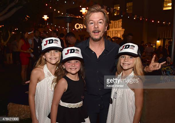 Actors Lauren Gobuzzi Chloe Guidry David Spade and Allison Gobuzzi pose at the after party for the premiere of Crackle's Joe Dirt 2 Beautiful Loser...