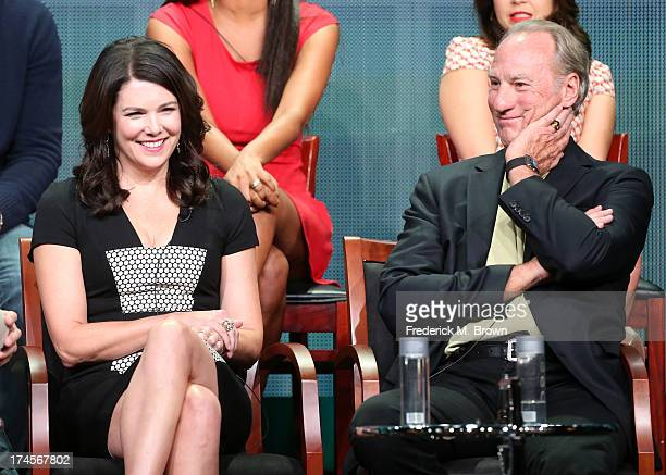 Actors Lauren Graham and Craig T Nelson speak onstage during the 'Parenthood' panel discussion at the NBC portion of the 2013 Summer Television...