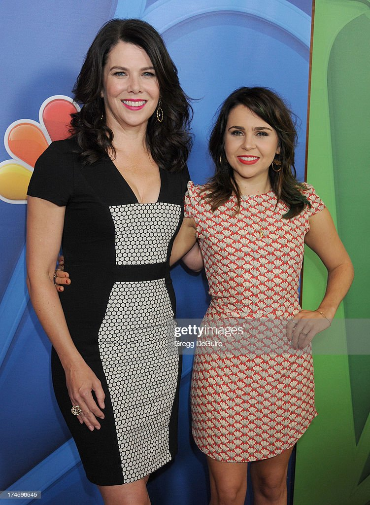 Actors Lauren Graham and Mae Whitman arrive at the 2013 NBC Television Critics Association's Summer Press Tour at The Beverly Hilton Hotel on July 27, 2013 in Beverly Hills, California.