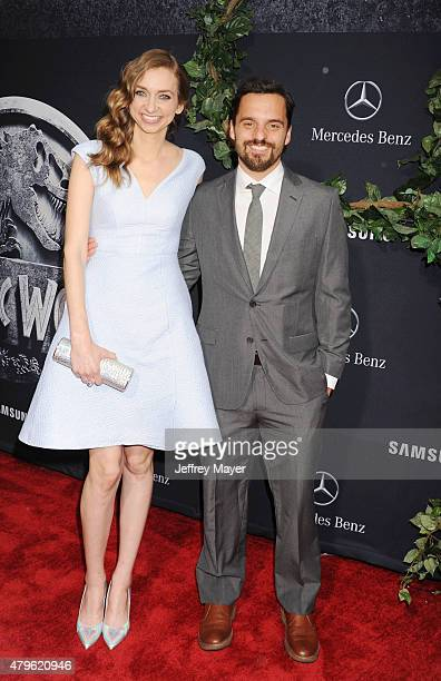 Actors Lauren Lapkus and Jake Johnson arrive at the 'Jurassic World' World Premiere at Dolby Theatre on June 9 2015 in Hollywood California