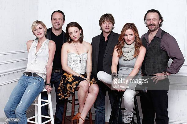 Actors Lauren Lee Smith Gil Bellows Leah Gibson director Terry Miles Kathleen Robertson and John PyperFerguson from 'A Night For Dying Tigers' pose...