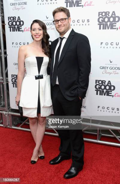 """Actors Lauren Miller and Seth Rogen attend the """"For A Good Time, Call..."""" premiere at Regal Union Square on August 21, 2012 in New York City."""