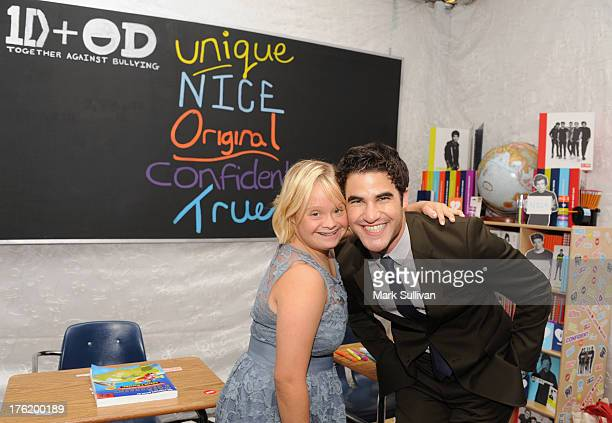 Actors Lauren Potter and Darren Criss attend the Backstage Creations Celebrity Retreat At Teen Choice 2013 at Gibson Amphitheatre on August 11 2013...