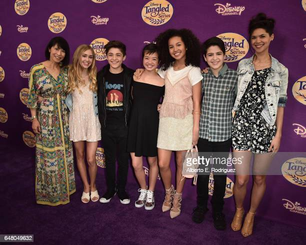 Actors Lauren Tom Emily Skinner Asher Angel Peyton Elizabeth Lee Sofia Wylie Joshua Rush and Lilan Bowden attend a screening of Disney Channel's...
