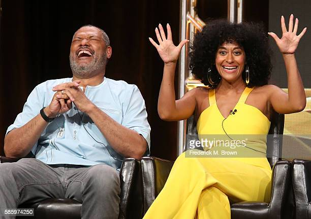 Actors Laurence Fishburne and Tracee Ellis Ross speak onstage at the 'Blackish' panel discussion during the Disney ABC Television Group portion of...