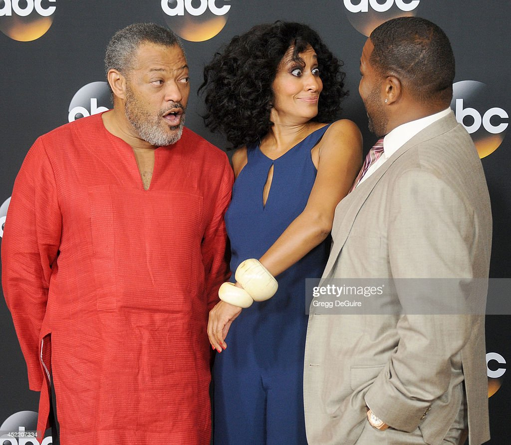Actors Laurence Fishburne, Tracee Ellis Ross and Anthony Anderson arrive at the 2014 Television Critics Association Summer Press Tour - Disney/ABC Television Group at The Beverly Hilton Hotel on July 15, 2014 in Beverly Hills, California.