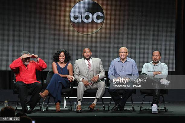 Actors Laurence Fishburne Tracee Ellis Ross Anthony Anderson executive producer Larry Wilmore and Creator/executive producer Kenya Barris speak...