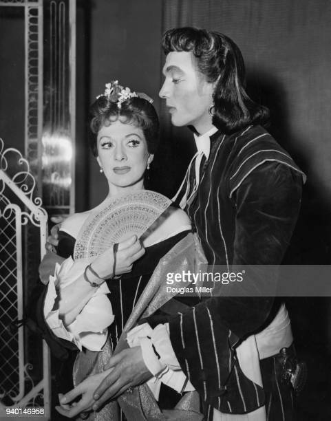 Actors Laurence Harvey as John Horner and Diana Churchill as Lady Fidget during rehearsals for the Restoration comedy 'The Country Wife' at the...