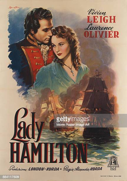 Actors Laurence Olivier and Vivien Leigh appear on an Italian poster by Ballester for the film 'That Hamilton Woman' aka 'Lady Hamilton' 1941 The...