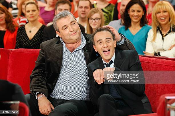 Actors Laurent Gamelon and Elie Semoun promote 'Le Placard' play representation at Theatre des Nouveautes during 'Vivement Dimanche' French TV show...