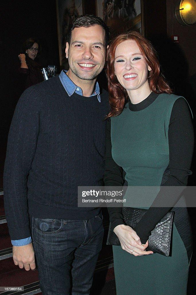 Actors Laurent Lafitte (L) and Audrey Fleurot attend the Paris Premiere of the movie 'Mais Qui A Re Tue Pamela Rose', at Cinema Gaumont Marignan on December 2, 2012 in Paris, France.