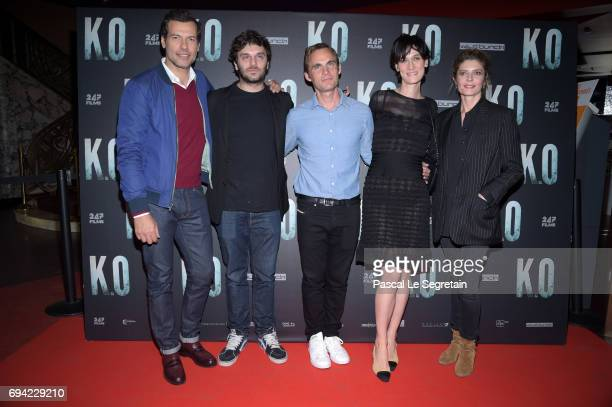Actors Laurent LafittePio Marmaidirector Fabrice Gobertactresses Clotilde Hesme and Chiara Mastroianni attend KO Premiere at Gaumont Capucines on...