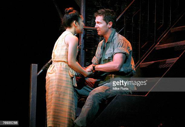 Actors Laurie Cadevida and David Harris perform during a media call for Miss Saigon at the Lyric Theatre on September 21 2007 in Sydney Australia