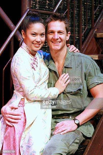 Actors Laurie Cadevida and David Harris pose together during a media call for Miss Saigon at the Lyric Theatre on September 21 2007 in Sydney...