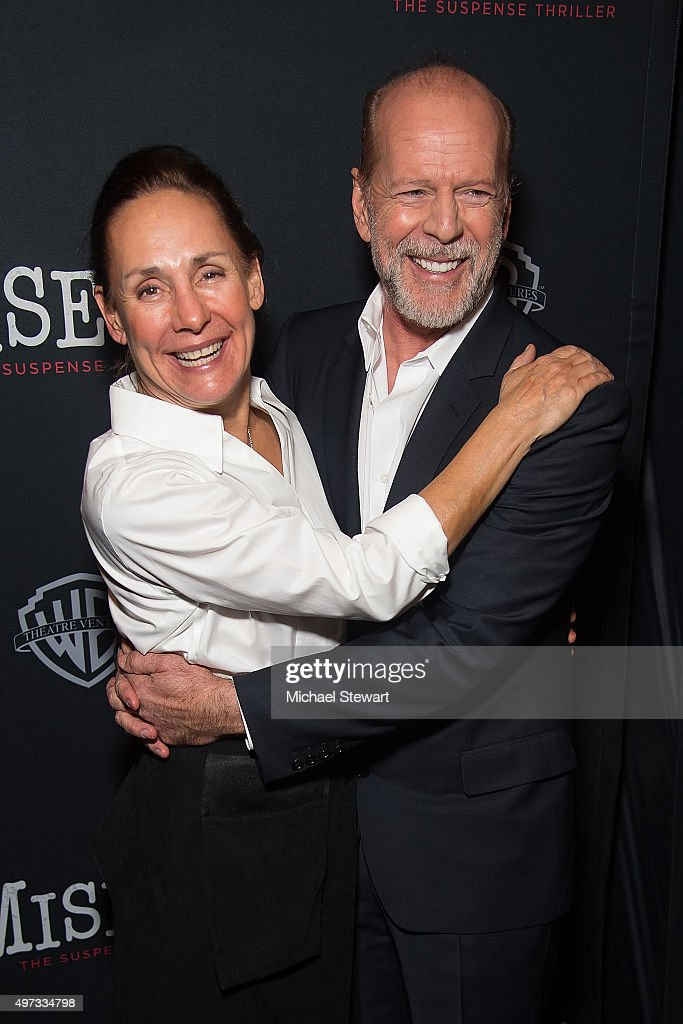 Actors Laurie Metcalf (L) and Bruce Willis attend the 'Misery' Broadway opening night after party at TAO Downtown on November 15, 2015 in New York City.