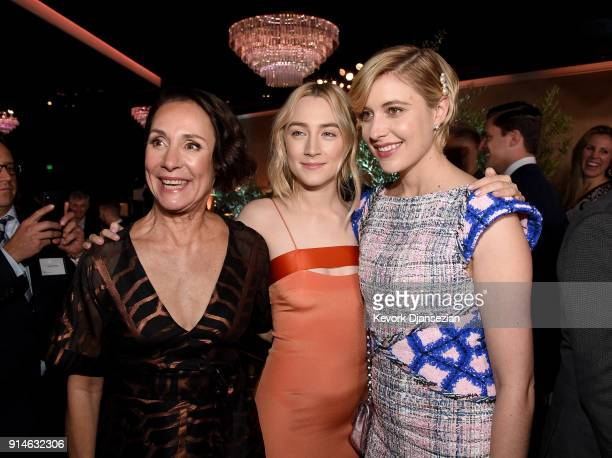 Actors Laurie Metcalf and Saoirse Ronan and director Greta Gerwig attend the 90th Annual Academy Awards Nominee Luncheon at The Beverly Hilton Hotel...