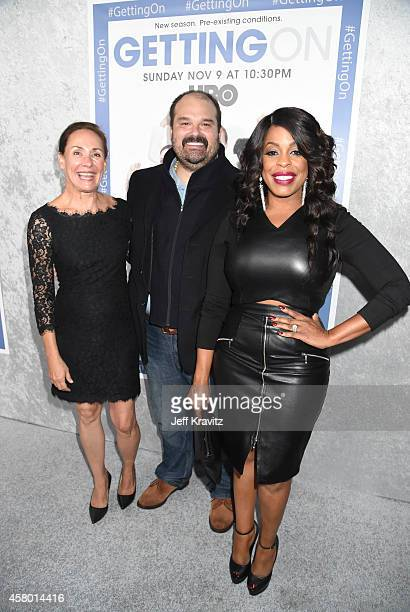 Actors Laurie Metcalf Mel Rodriguez and Niecy Nash attend the HBO 'Getting On' Season 2 Los Angeles Premiere at Avalon on October 28 2014 in...