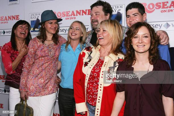 Actors Laurie Metcalf Sandra Bernhard Alicia Goranson John Goodman Roseanne Michael Fishman and Sara Gilbert attend the DVD launch of Roseanne Season...
