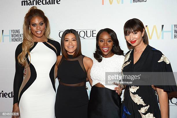 Actors Laverne Cox Gina Rodriguez Aja Naomi King and Jackie Cruz attend the 1st annual Marie Claire Young Women's Honors at Marina del Rey Marriott...