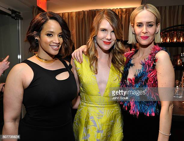 Actors Laverne Cox, Lily Rabe and Sarah Paulson attend the Weinstein Company & Netflix's 2016 SAG after party hosted by Absolut Elyx at Sunset Tower...