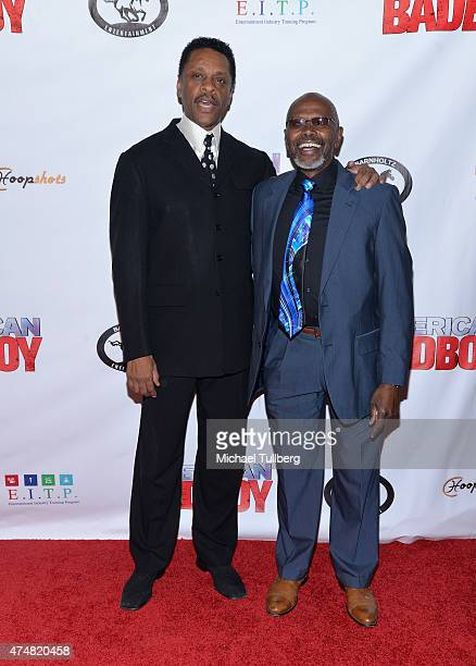 Actors Lawrence HiltonJacobs and Ernest Thomas attend the premiere of the film American Bad Boy at TCL Chinese Theatre IMAX on May 26 2015 in...