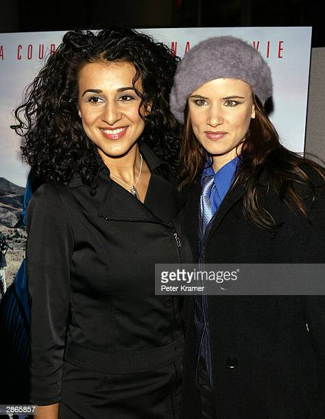 Actors Layla Alizada and Juliette Lewis attend the Court TV premiere of Chasing Freedom January 13 2004 in New York City