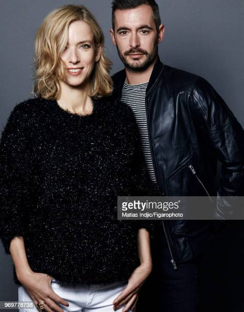 Actors Lea Drucker and Xavier Legrand are photographed for Madame Figaro on November 23 2017 in Paris France Drucker sweater by Isabel Marant jeans...