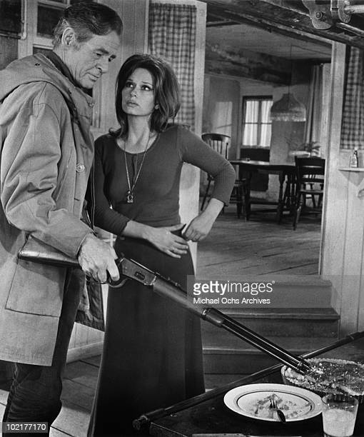 Actors Lea Massari and Robert Ryan in a scene from the movie 'And Hope to Die' in 1972 in Montreal, Quebec, Canada.