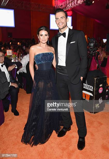 Actors Lea Michele and Cheyenne Jackson attend Bulgari at the 24th Annual Elton John AIDS Foundation's Oscar Viewing Party at The City of West...
