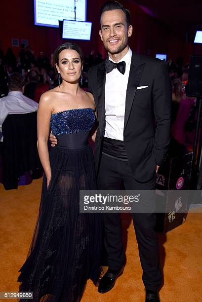 Actors Lea Michele and Cheyenne Jackson attend the 24th Annual Elton John AIDS Foundation's Oscar Viewing Party at The City of West Hollywood Park on...
