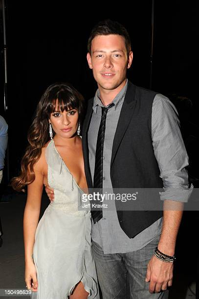 Actors Lea Michele and Cory Monteith attend DoSomethingorg and VH1's 2012 Do Something Awards at Barker Hangar on August 19 2012 in Santa Monica...