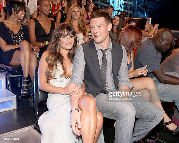 Actors Lea Michele and Cory Monteith attend the 2012 Do Something Awards at Barker Hangar on August 19 2012 in Santa Monica California