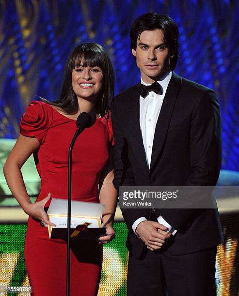 Actors Lea Michele and Ian Somerhalder speak onstage during the 63rd Annual Primetime Emmy Awards held at Nokia Theatre LA LIVE on September 18 2011...