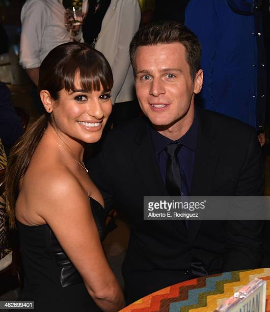 Actors Lea Michele and Jonathan Groff attend the after party for the premiere of HBO's 'Looking' at Paramount Studios on January 15 2014 in Hollywood...