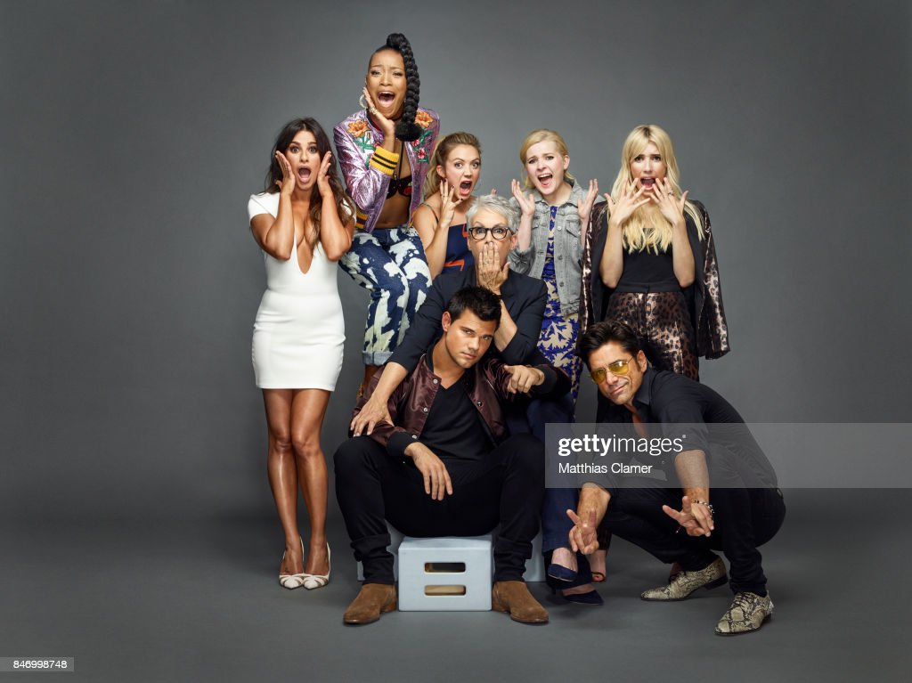 Actors Lea Michele, Keke Palmer, Billie Lourd, Abigail Breslin, Emma Roberts, Jamie Lee Curtis, John Stamos and Taylor Lautner from 'Scream Queens' are photographed for Entertainment Weekly Magazine on July 22, 2016 at Comic Con in the Hard Rock Hotel in San Diego, California. PUBLISHED