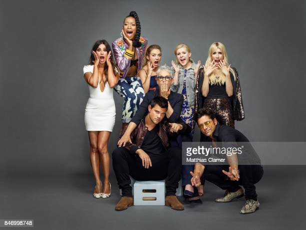 Actors Lea Michele Keke Palmer Billie Lourd Abigail Breslin Emma Roberts Jamie Lee Curtis John Stamos and Taylor Lautner from 'Scream Queens' are...