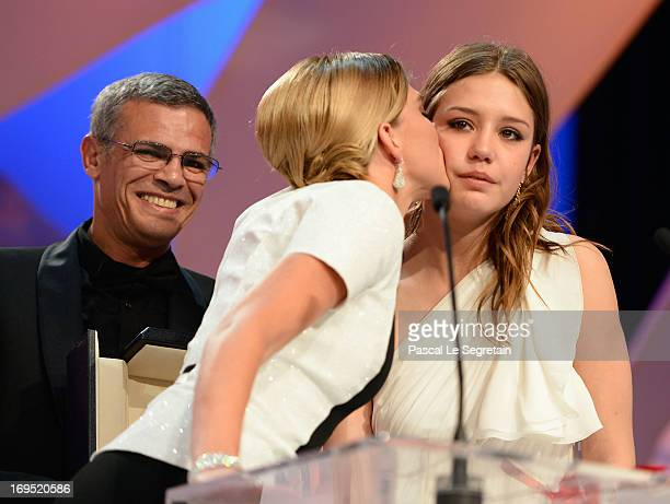 Actors Lea Seydoux Adele Exarchopoulos on stage after 'La Vie D'adele' receives the Palme D'or' at the Inside Closing Ceremony during the 66th Annual...