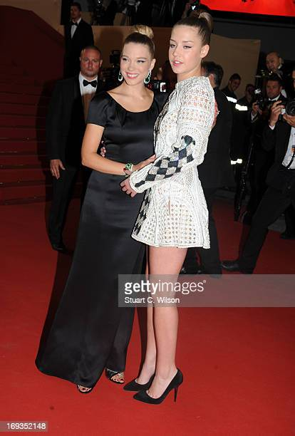 Actors Lea Seydoux and Adele Exarchopoulo attend the 'La Vie D'Adele' premiere during The 66th Annual Cannes Film Festival at the Palais des Festival...