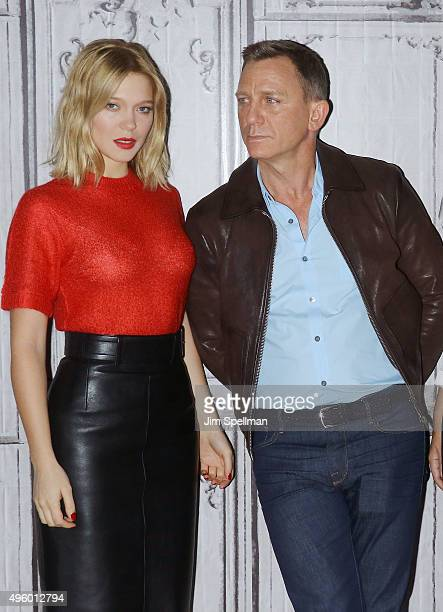 Actors Lea Seydoux and Daniel Craig attend AOL BUILD Series Presents Spectre at AOL Studios In New York on November 5 2015 in New York City