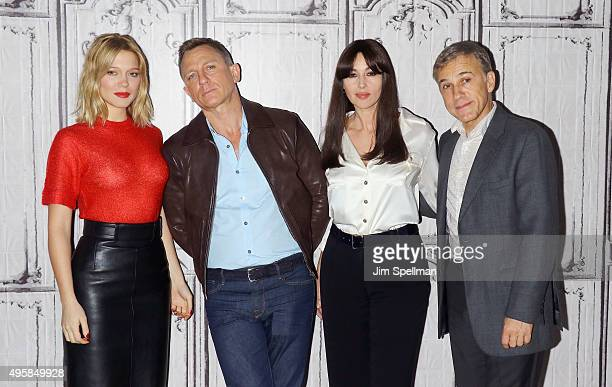 Actors Lea Seydoux Daniel Craig Monica Bellucci and Christoph Waltz attend AOL BUILD Series Presents Spectre at AOL Studios In New York on November 5...