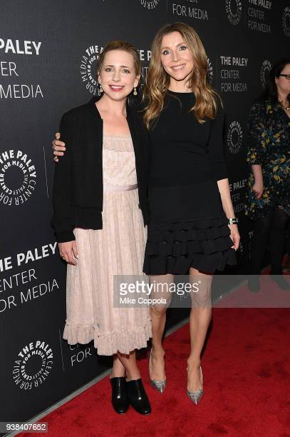 Actors Lecy Goranson and Sarah Chalke attends The Paley Center For Media presents An evening with Roseanne at The Paley Center for Media on March 26...