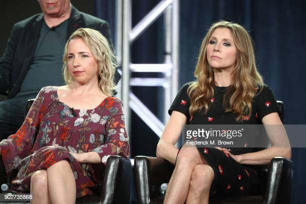 Actors Lecy Goranson and Sarah Chalke of the television show Roseanne listens onstage during the ABC Television/Disney portion of the 2018 Winter...
